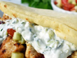 Gyros With Greek Chicken & Tzatziki Sauce